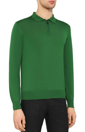 Мужское шерстяное поло BRIONI зеленого цвета, арт. UMS10L/0ZK18 | Фото 3
