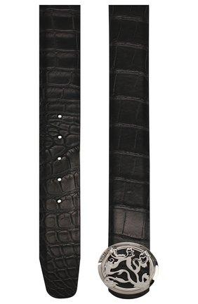 Мужской ремень из кожи аллигатора ZILLI черного цвета, арт. MJL-CLAQE-01010/0035/AMIS | Фото 2
