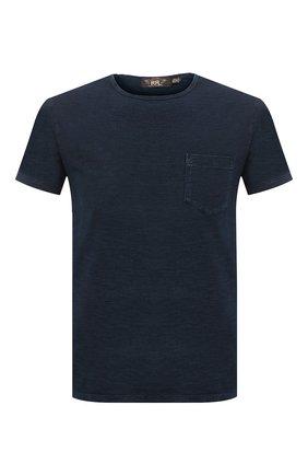 Мужская хлопковая футболка RRL темно-синего цвета, арт. 782504861 | Фото 1