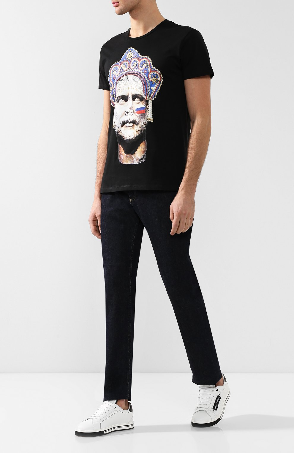 Хлопковая футболка  Diego Venturino черная | Фото №2