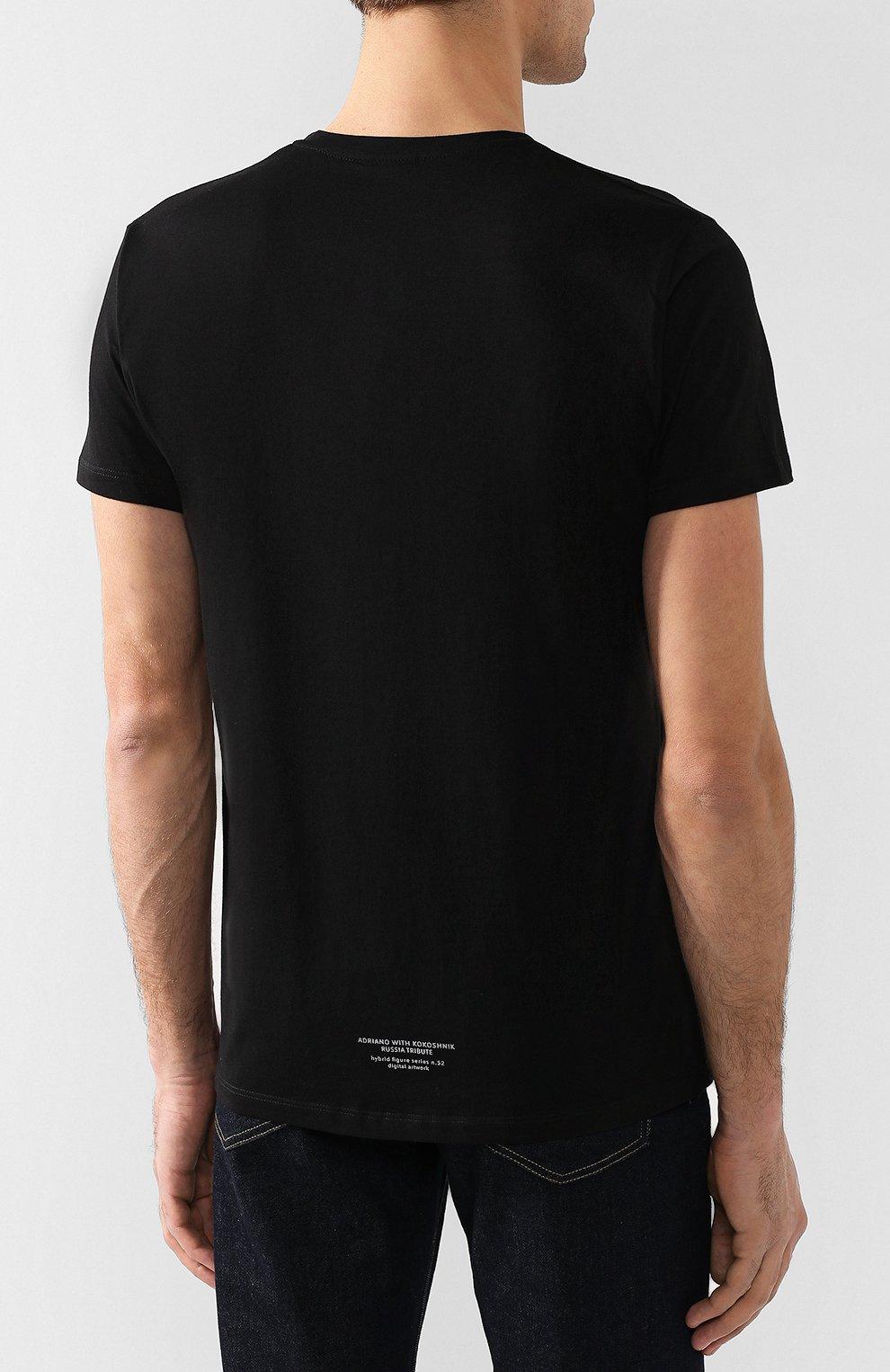 Хлопковая футболка  Diego Venturino черная | Фото №4