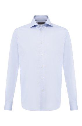Мужская хлопковая рубашка с воротником кент CORNELIANI голубого цвета, арт. 83P100-9111408/00   Фото 1