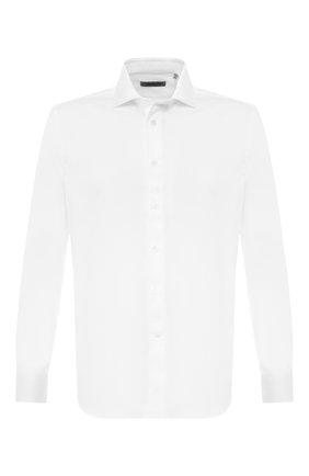 Мужская хлопковая рубашка с воротником кент CORNELIANI белого цвета, арт. 83P100-9111204/00   Фото 1