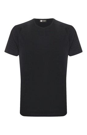 Мужская шерстяная футболка Z ZEGNA темно-синего цвета, арт. V8390/ZZT653 | Фото 1 (Длина (для топов): Стандартные; Материал внешний: Шерсть; Мужское Кросс-КТ: Футболка-одежда; Рукава: Короткие; Принт: Без принта; Стили: Кэжуэл)