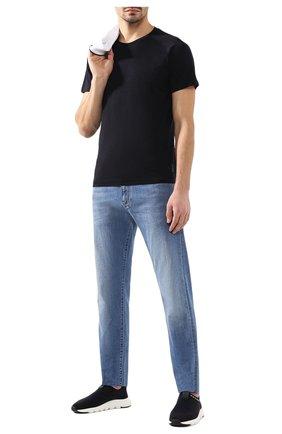 Мужская шерстяная футболка Z ZEGNA темно-синего цвета, арт. V8390/ZZT653 | Фото 2 (Длина (для топов): Стандартные; Материал внешний: Шерсть; Мужское Кросс-КТ: Футболка-одежда; Рукава: Короткие; Принт: Без принта; Стили: Кэжуэл)