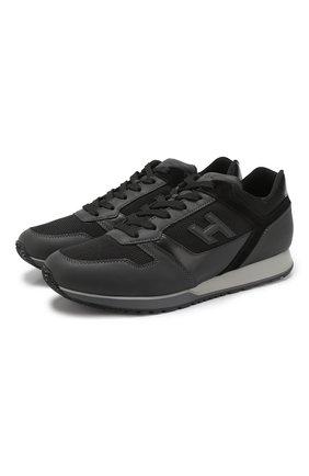 Комбинированные кроссовки на шнуровке   Фото №1