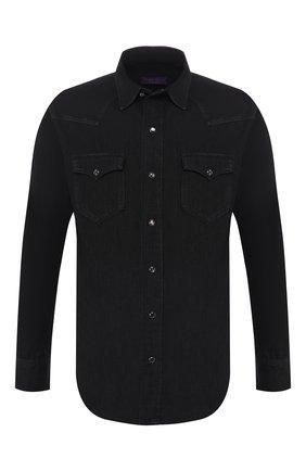 Мужская хлопковая рубашка RALPH LAUREN черного цвета, арт. 790729715 | Фото 1