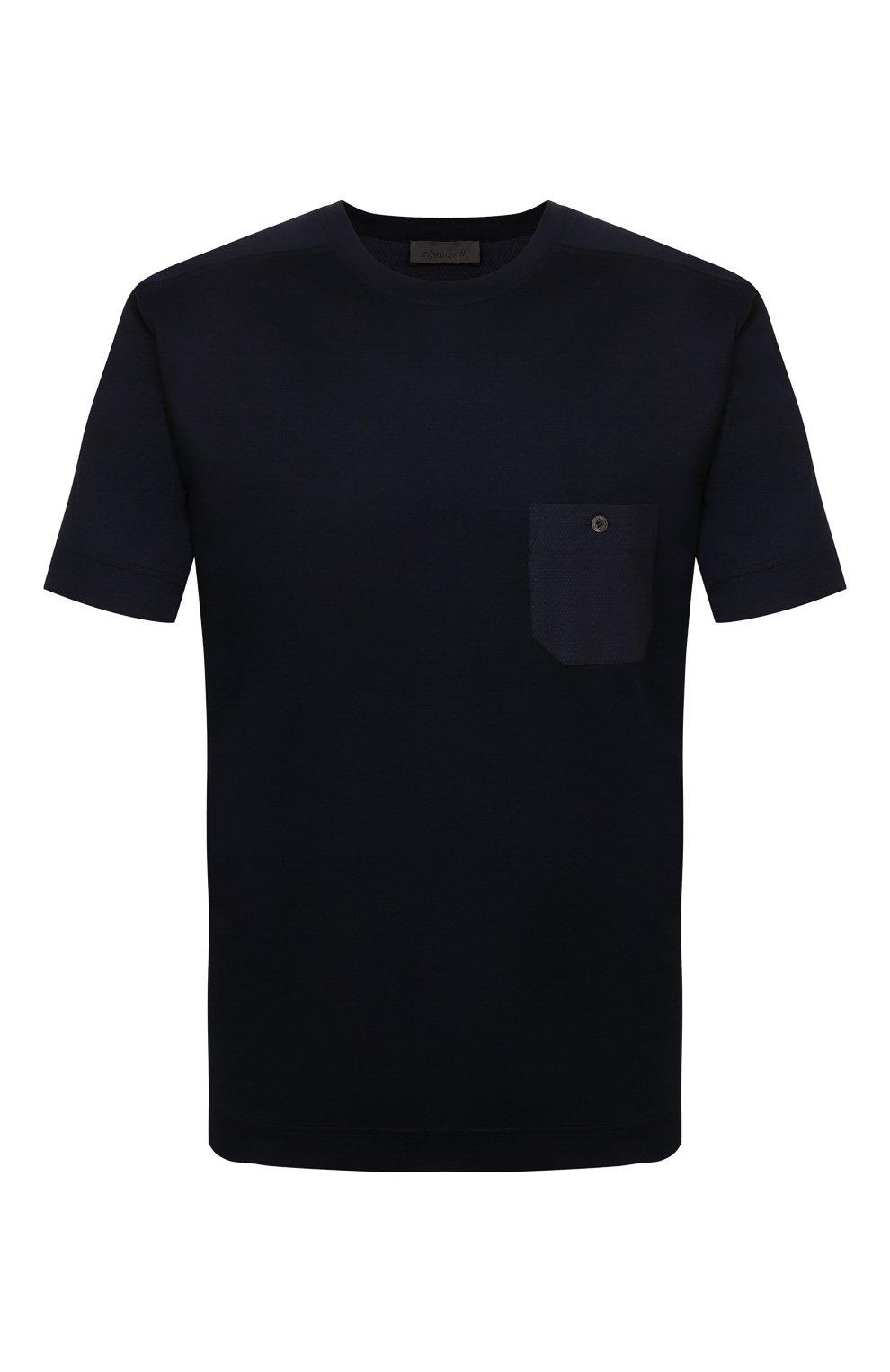 Мужская футболка из смеси хлопка и вискозы ZIMMERLI темно-синего цвета, арт. 8520-21091   Фото 1 (Кросс-КТ: домашняя одежда; Рукава: Короткие; Длина (для топов): Стандартные; Материал внешний: Хлопок, Вискоза; Мужское Кросс-КТ: Футболка-белье; Статус проверки: Проверена категория)
