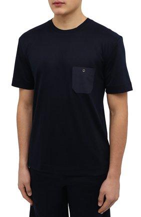 Мужская футболка из смеси хлопка и вискозы ZIMMERLI темно-синего цвета, арт. 8520-21091   Фото 3 (Кросс-КТ: домашняя одежда; Рукава: Короткие; Длина (для топов): Стандартные; Материал внешний: Хлопок, Вискоза; Мужское Кросс-КТ: Футболка-белье; Статус проверки: Проверена категория)