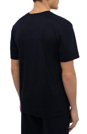 Мужская футболка из смеси хлопка и вискозы ZIMMERLI темно-синего цвета, арт. 8520-21091   Фото 4 (Кросс-КТ: домашняя одежда; Рукава: Короткие; Длина (для топов): Стандартные; Материал внешний: Хлопок, Вискоза; Мужское Кросс-КТ: Футболка-белье; Статус проверки: Проверена категория)