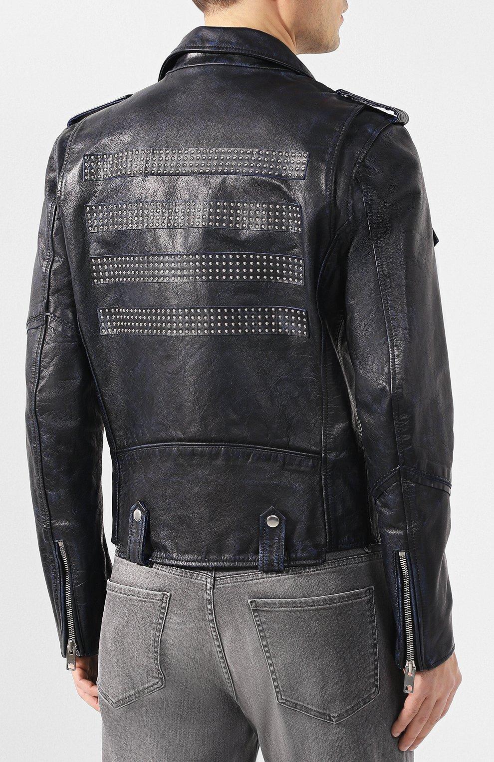 Мужская кожаная куртка DIESEL темно-синего цвета, арт. 00SMA6/0AAUF   Фото 4