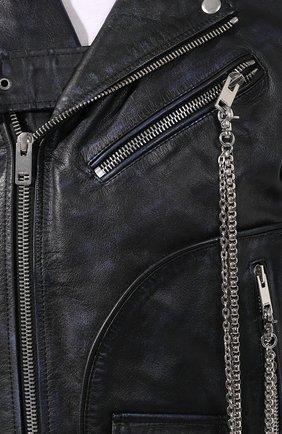 Мужская кожаная куртка DIESEL темно-синего цвета, арт. 00SMA6/0AAUF   Фото 5