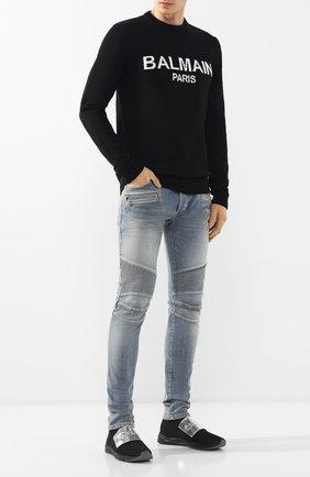 Мужские джинсы прямого кроя BALMAIN синего цвета, арт. RH15130/Z009 | Фото 2