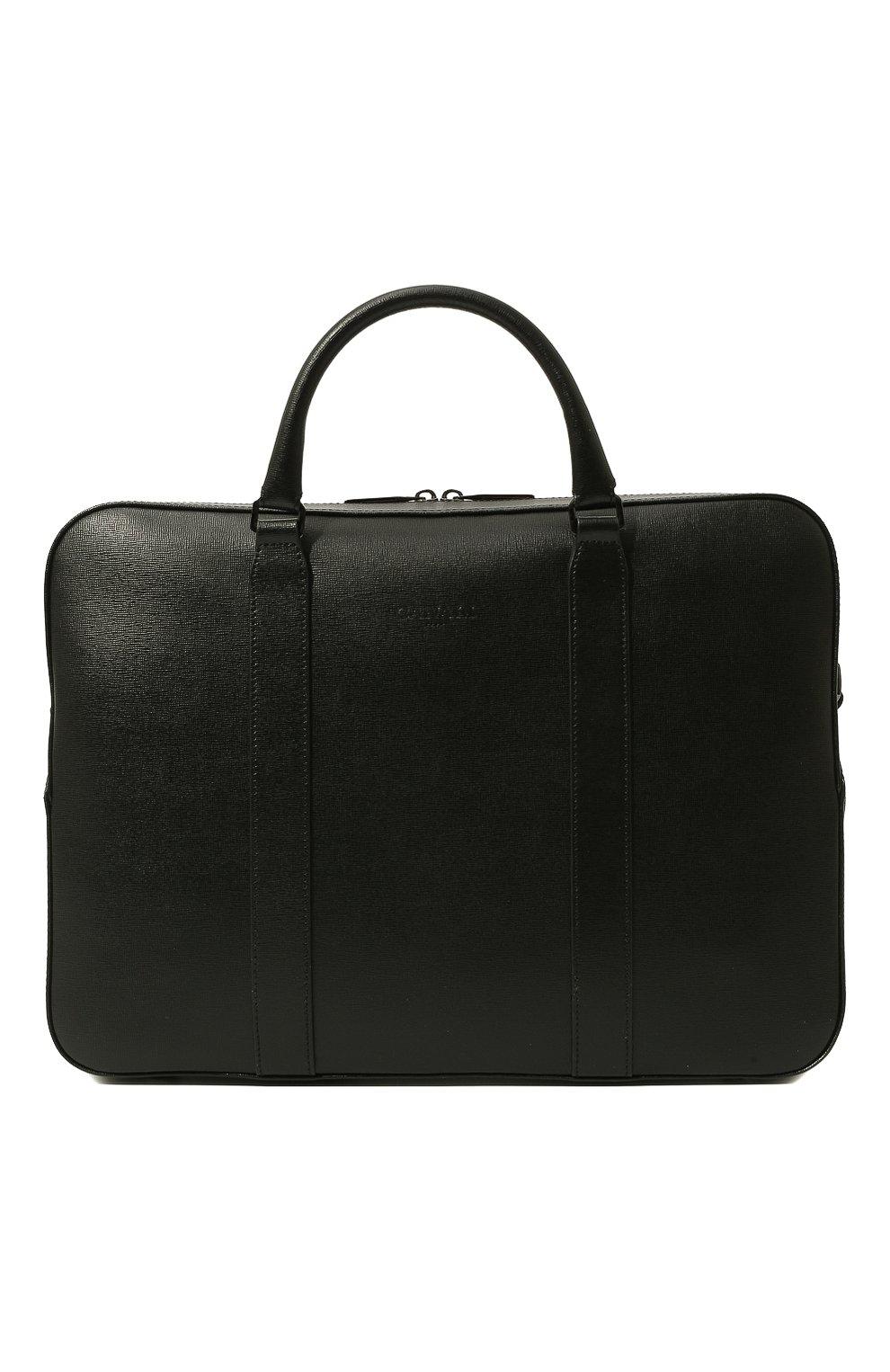 Мужская кожаная сумка для ноутбука с плечевым ремнем CANALI черного цвета, арт. P325157/NA00053 | Фото 1