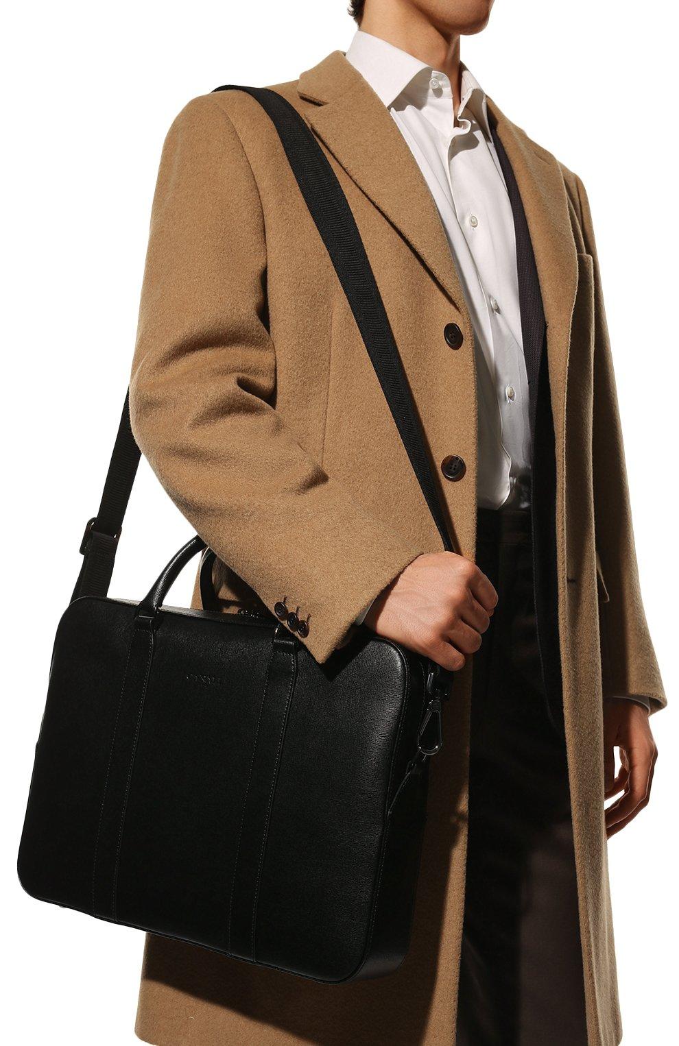 Мужская кожаная сумка для ноутбука с плечевым ремнем CANALI черного цвета, арт. P325157/NA00053 | Фото 2