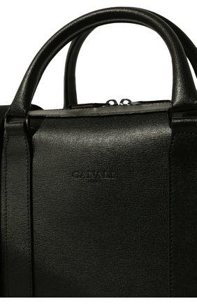 Мужская кожаная сумка для ноутбука с плечевым ремнем CANALI черного цвета, арт. P325157/NA00053 | Фото 3
