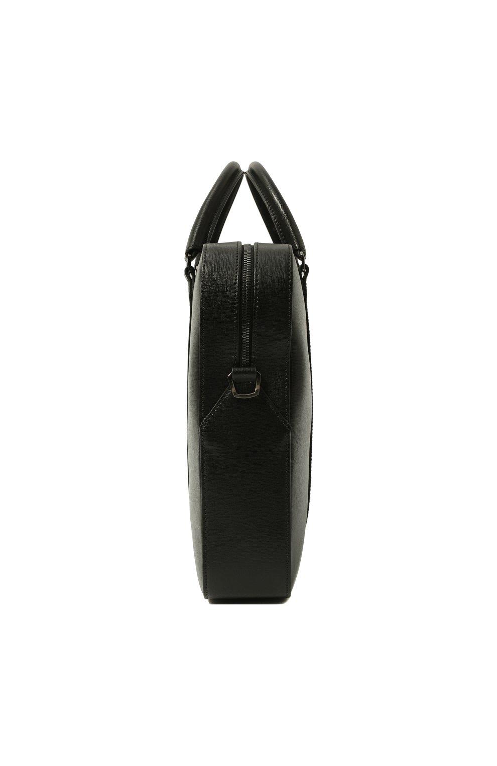 Мужская кожаная сумка для ноутбука с плечевым ремнем CANALI черного цвета, арт. P325157/NA00053 | Фото 4