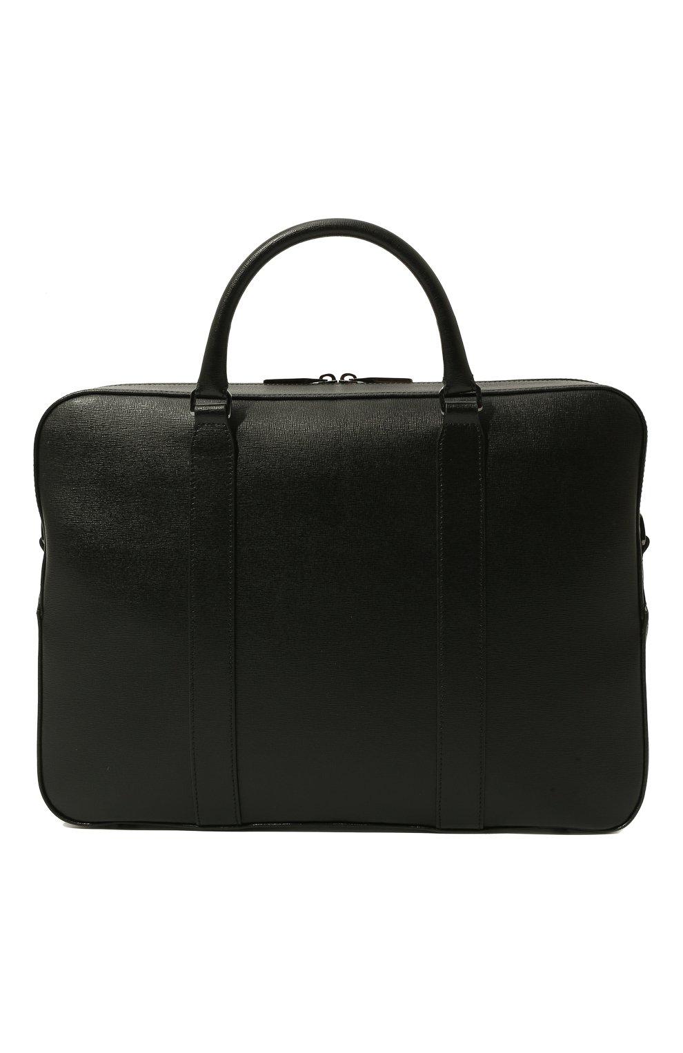 Мужская кожаная сумка для ноутбука с плечевым ремнем CANALI черного цвета, арт. P325157/NA00053 | Фото 6