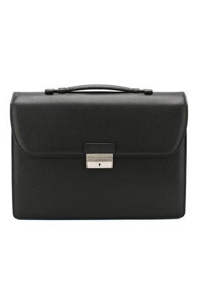 Мужской кожаный портфель CANALI черного цвета, арт. P325338/NA00051 | Фото 1