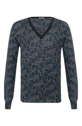 Мужской пуловер из смеси кашемира и шелка BOTTEGA VENETA темно-синего цвета, арт. 545454/VEYB0 | Фото 1