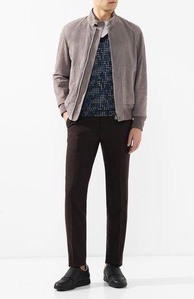 Мужской пуловер из смеси кашемира и шелка BOTTEGA VENETA темно-синего цвета, арт. 545454/VEYB0 | Фото 2