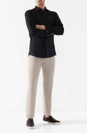 Мужские кожаные слипоны TOD'S синего цвета, арт. XXM0TV0K900NLK | Фото 2