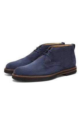 Мужские замшевые ботинки TOD'S темно-синего цвета, арт. XXM53B00D80RE0 | Фото 1