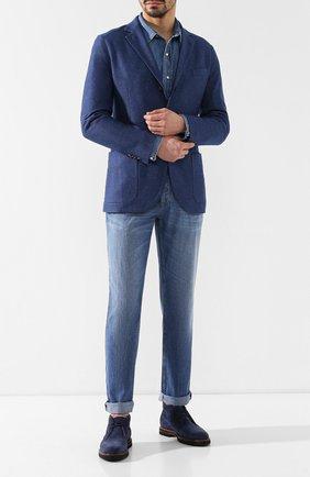 Мужские замшевые ботинки TOD'S темно-синего цвета, арт. XXM53B00D80RE0 | Фото 2
