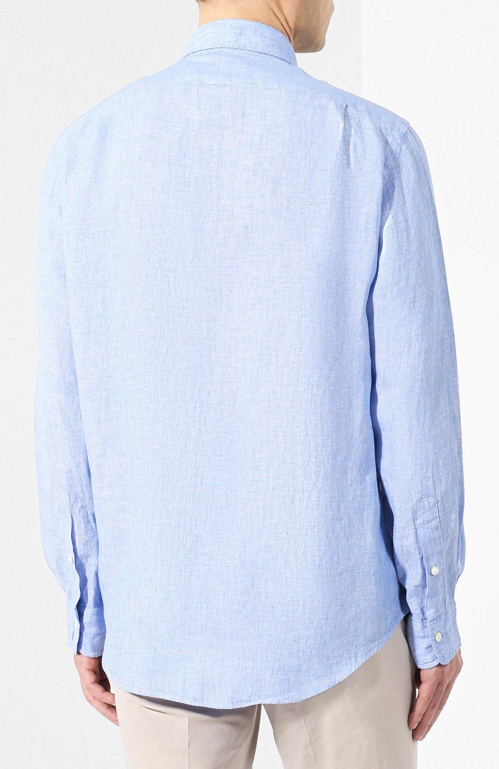 8f7ae31cf61 Мужская голубая льняная рубашка POLO RALPH LAUREN — купить за 10950 ...
