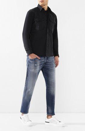 Мужская хлопковая рубашка  RRL черного цвета, арт. 782725746 | Фото 2 (Рукава: Длинные; Длина (для топов): Стандартные; Материал внешний: Хлопок; Статус проверки: Проверено; Случай: Повседневный; Воротник: Кент)