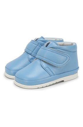Детские кожаные ботинки с застежкой велькро GALLUCCI голубого цвета, арт. T00767AS/PP C G0M NAP/NAP | Фото 1