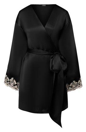Женский шелковый халат LA PERLA черного цвета, арт. 0019230 | Фото 1