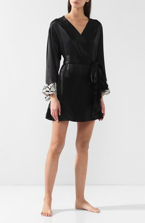 Женский шелковый халат LA PERLA черного цвета, арт. 0019230 | Фото 2