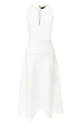 Платье-миди с оборкой Roland Mouret белое   Фото №1