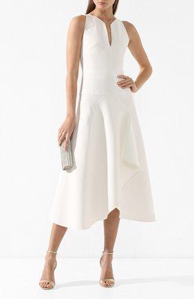 Платье-миди с оборкой Roland Mouret белое   Фото №2
