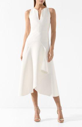 Платье-миди с оборкой Roland Mouret белое   Фото №3
