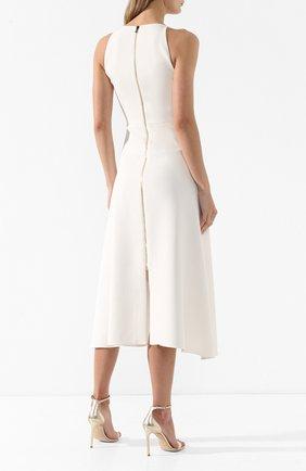Платье-миди с оборкой Roland Mouret белое   Фото №4