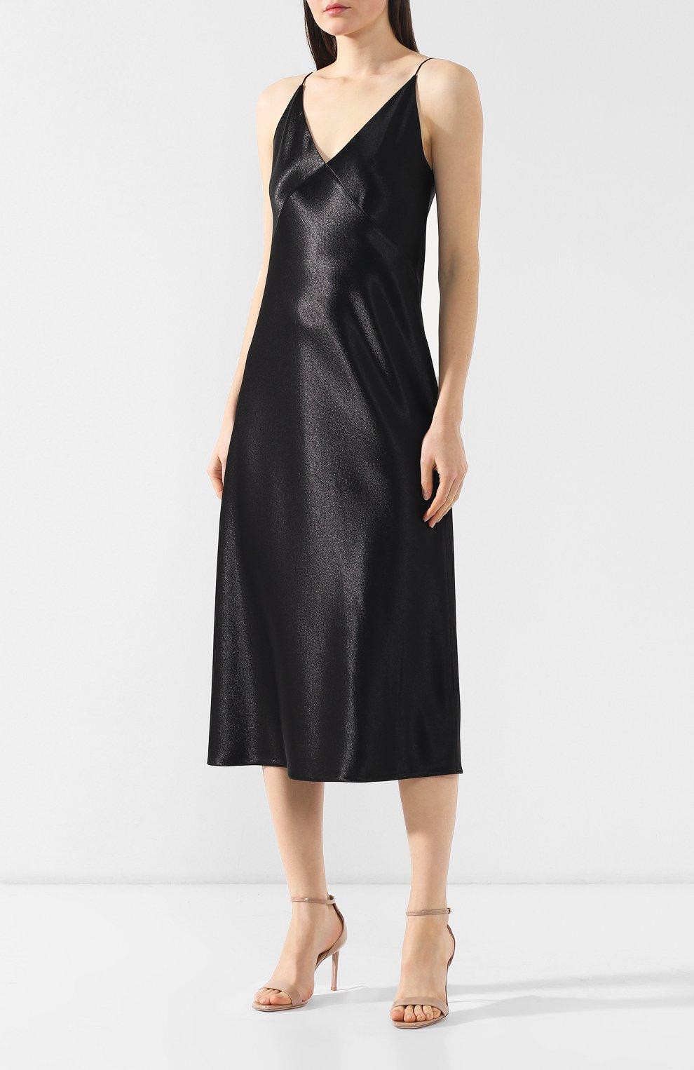 Платье на бретельках Vince черное | Фото №3