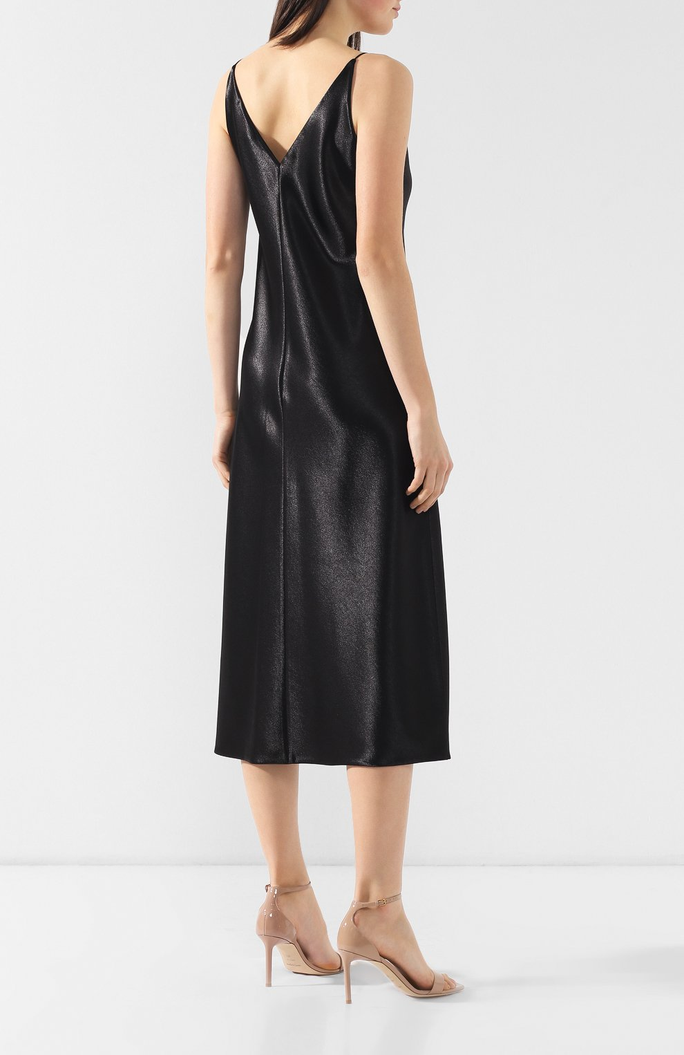 Платье на бретельках Vince черное | Фото №4