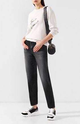 Женские джинсы с потертостями SAINT LAURENT серого цвета, арт. 542763/YA857 | Фото 2