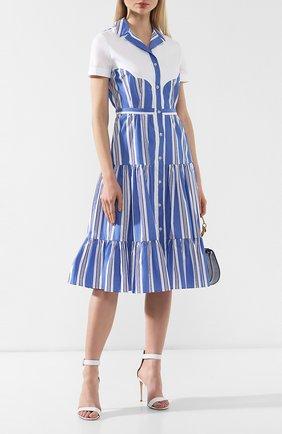 Хлопковое платье Stella Jean голубое | Фото №2