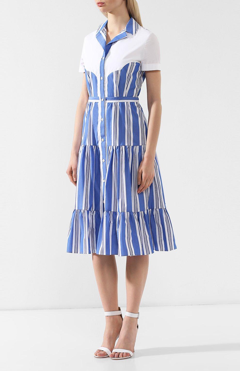 Хлопковое платье Stella Jean голубое | Фото №3