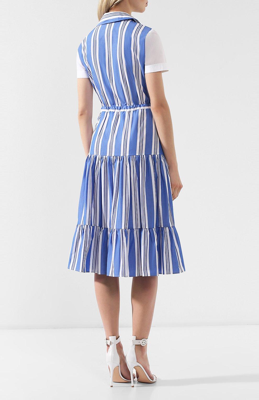 Хлопковое платье Stella Jean голубое | Фото №4