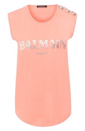 Женская хлопковый топ BALMAIN кораллового цвета, арт. RF11075/I042 | Фото 1