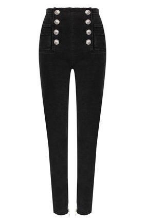 Женские джинсы-скинни BALMAIN черного цвета, арт. RF15307/D027 | Фото 1