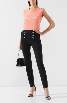 Женские джинсы-скинни BALMAIN черного цвета, арт. RF15307/D027 | Фото 2
