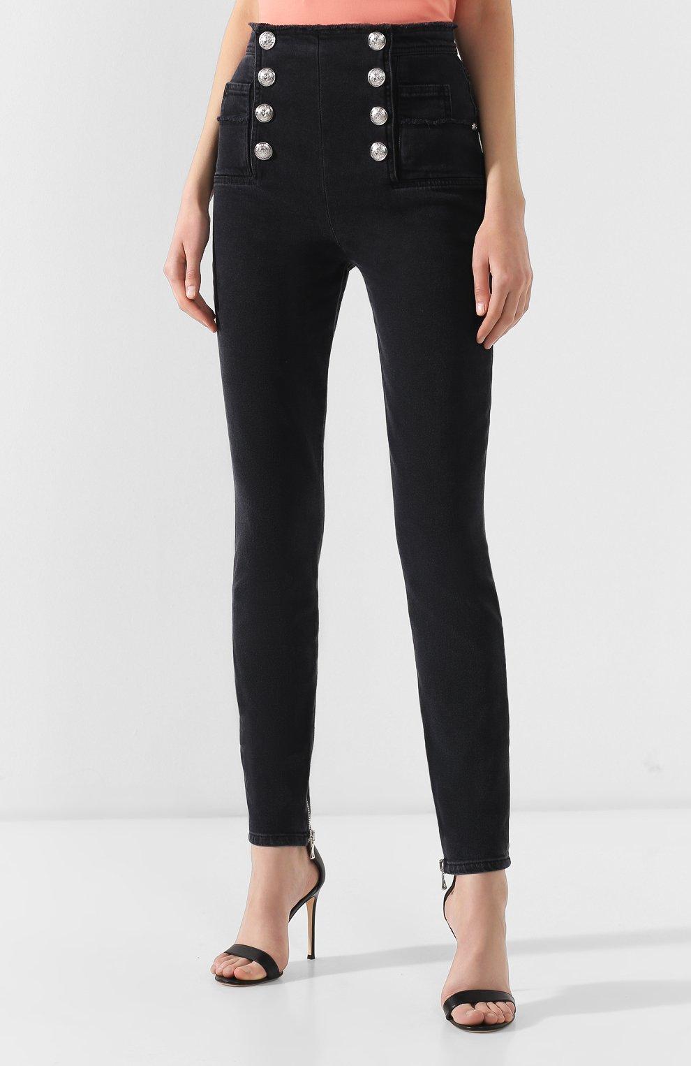 Женские джинсы-скинни BALMAIN черного цвета, арт. RF15307/D027 | Фото 3