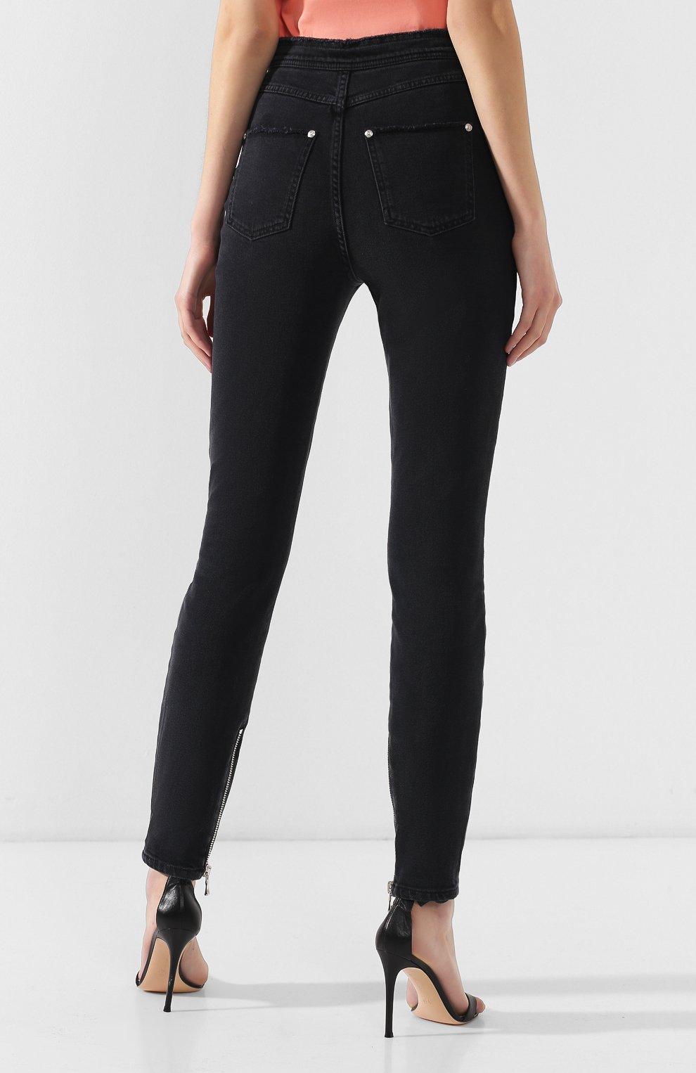 Женские джинсы-скинни BALMAIN черного цвета, арт. RF15307/D027 | Фото 4