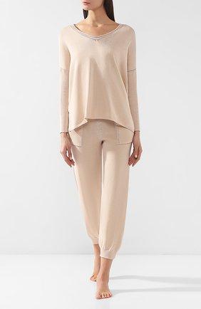 Женская пуловер из смеси хлопка и шелка ZIMMERLI кремвого цвета, арт. 5169-4072 | Фото 2