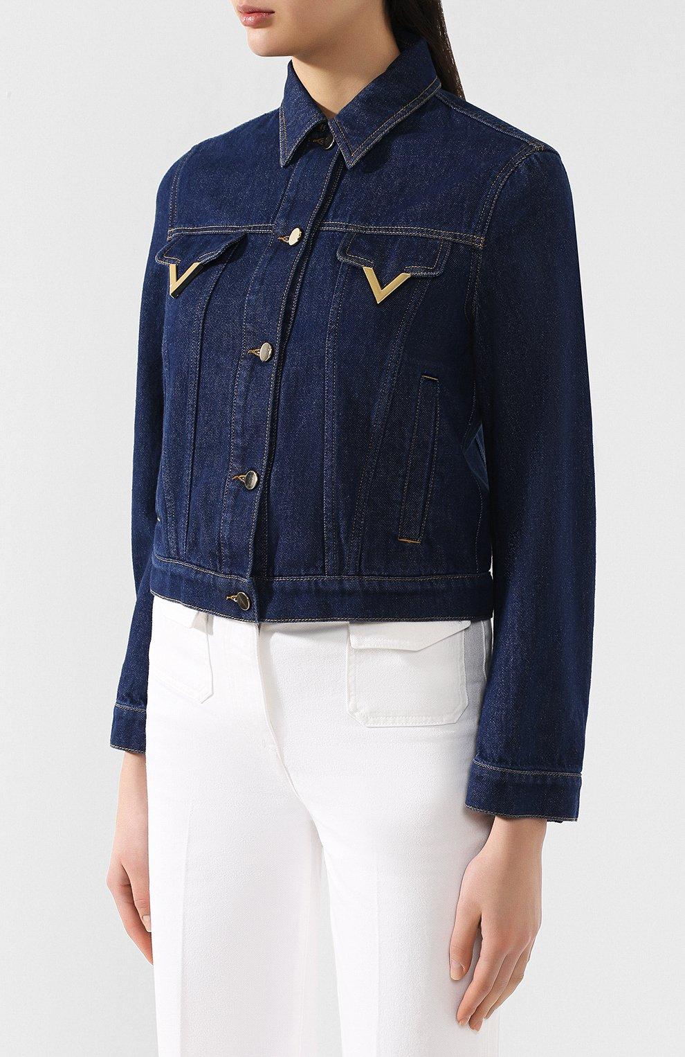 Джинсовая куртка Valentino темно-синяя | Фото №3